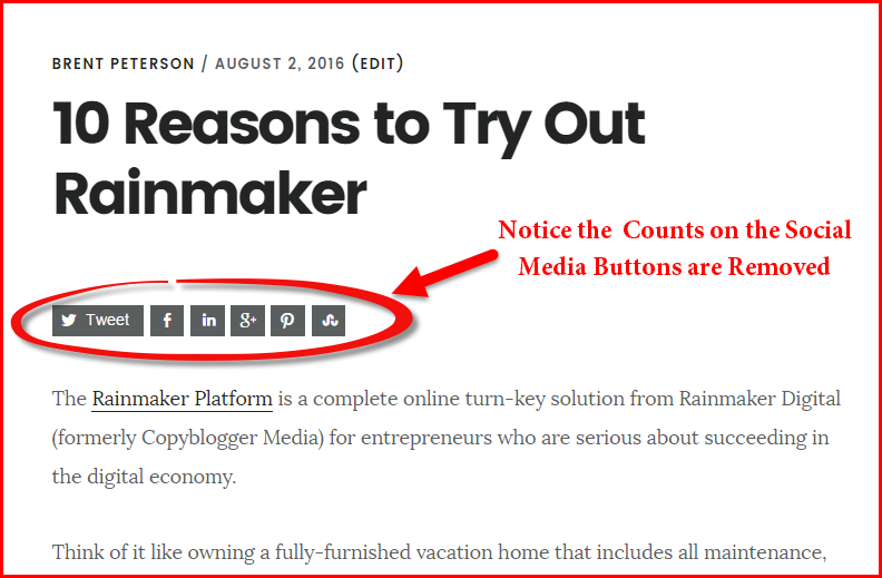 How to Remove Counts on Social Media Share Buttons